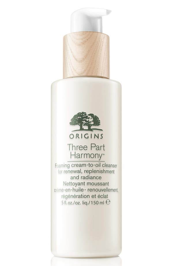 Main Image - Origins Three Part Harmony Foaming Cream-to-Oil Cleanser for Renewal, Replenishment & Radiance