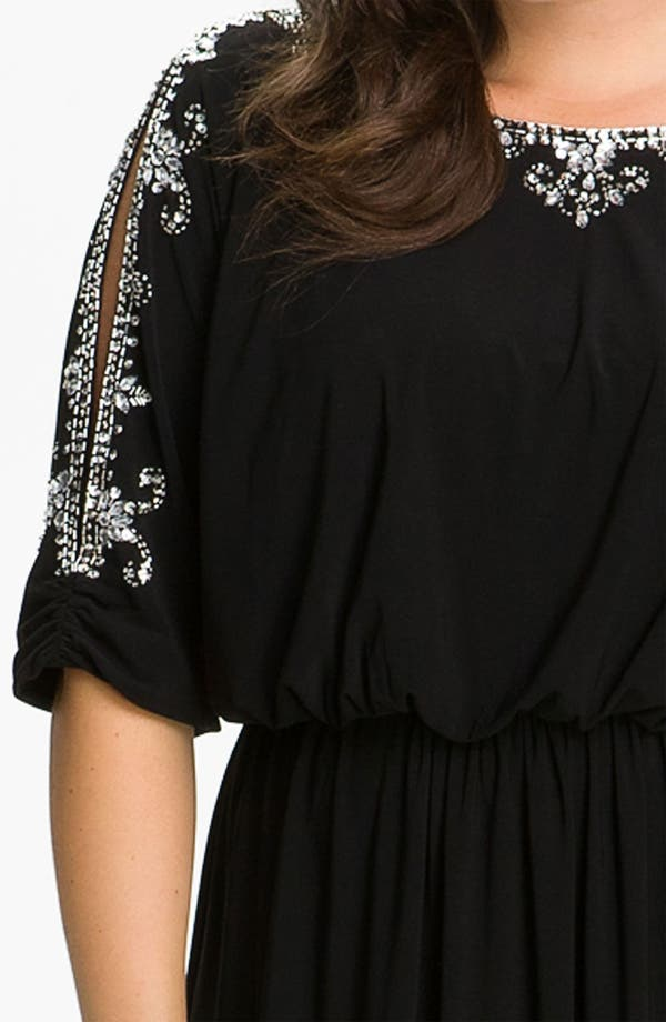 Alternate Image 3  - Alex Evenings Beaded Cold Shoulder Blouson Dress (Plus)