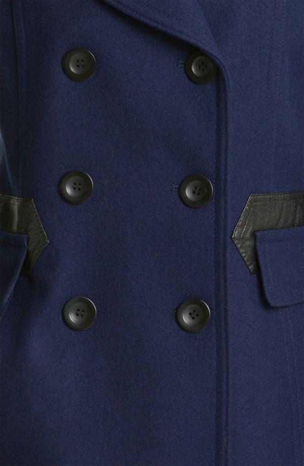 Alternate Image 3  - Via Spiga 'Elena' Faux Leather Trim Wool Blend Coat