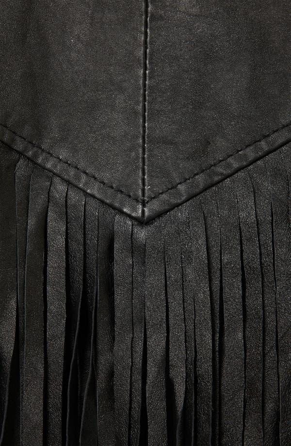 Alternate Image 3  - Topshop 'Sally' Fringe Leather Biker Jacket