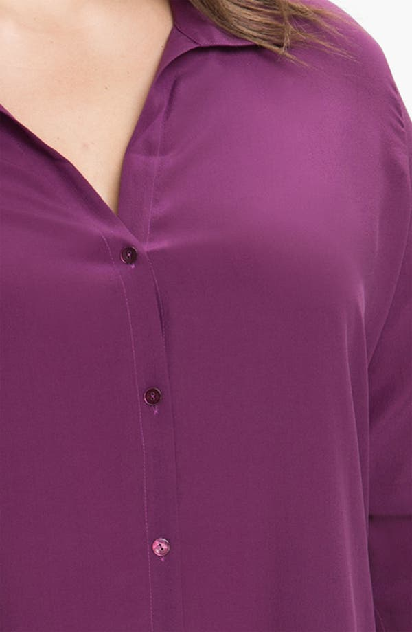 Alternate Image 3  - Eileen Fisher Roll Sleeve Silk Blouse (Plus)