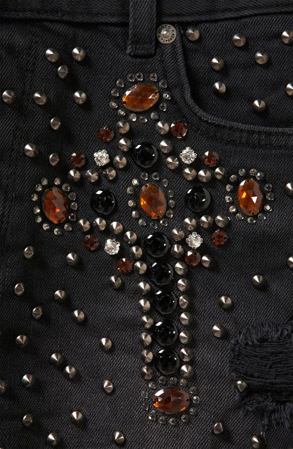 Alternate Image 3  - Topshop Moto 'Cross' Embellished Denim Shorts