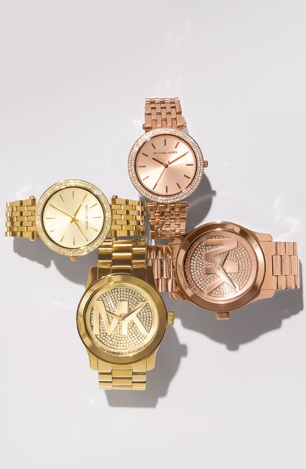 Alternate Image 5  - Michael Kors 'Runway' Logo Dial Bracelet Watch, 45mm