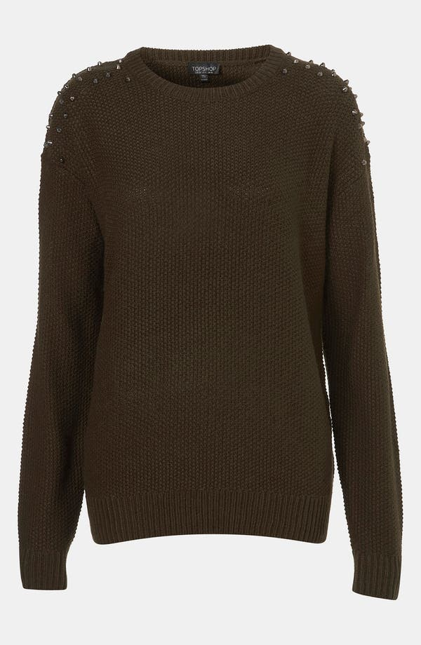 Main Image - Topshop Studded Camouflage Sweater