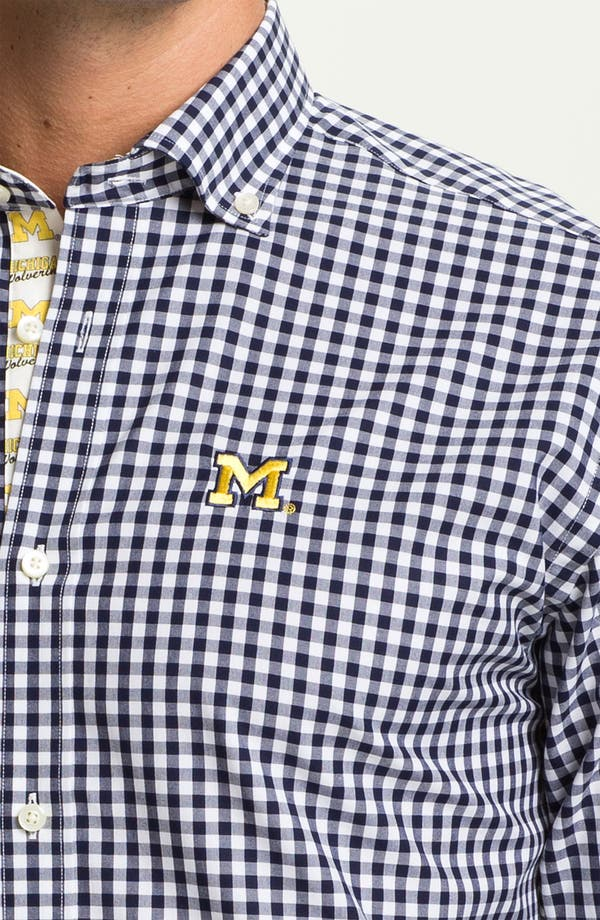 Alternate Image 3  - Thomas Dean 'University of Michigan' Gingham Sport Shirt