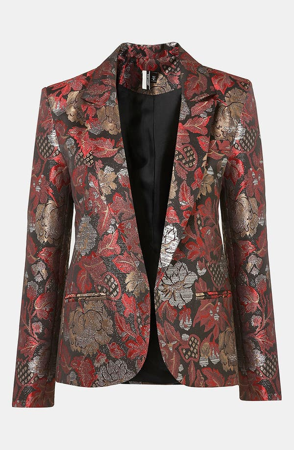 Alternate Image 1 Selected - Topshop Metallic Jacquard Blazer