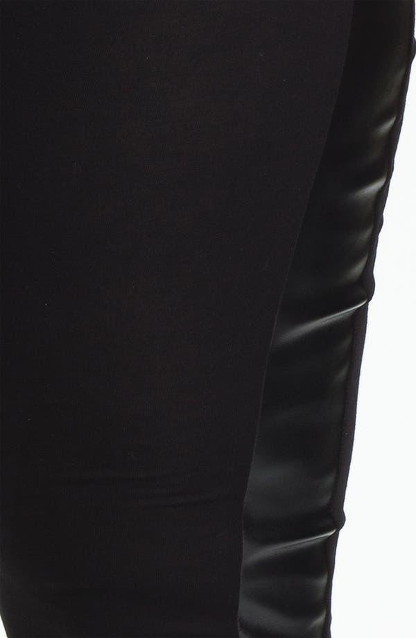 Alternate Image 3  - Evans Faux Leather Trim Leggings (Plus Size)