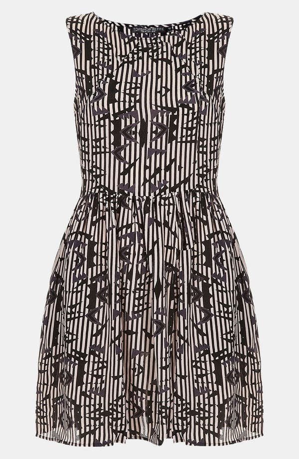 Alternate Image 1 Selected - Topshop 'Arrow Ikat' Print Skater Dress (Petite)