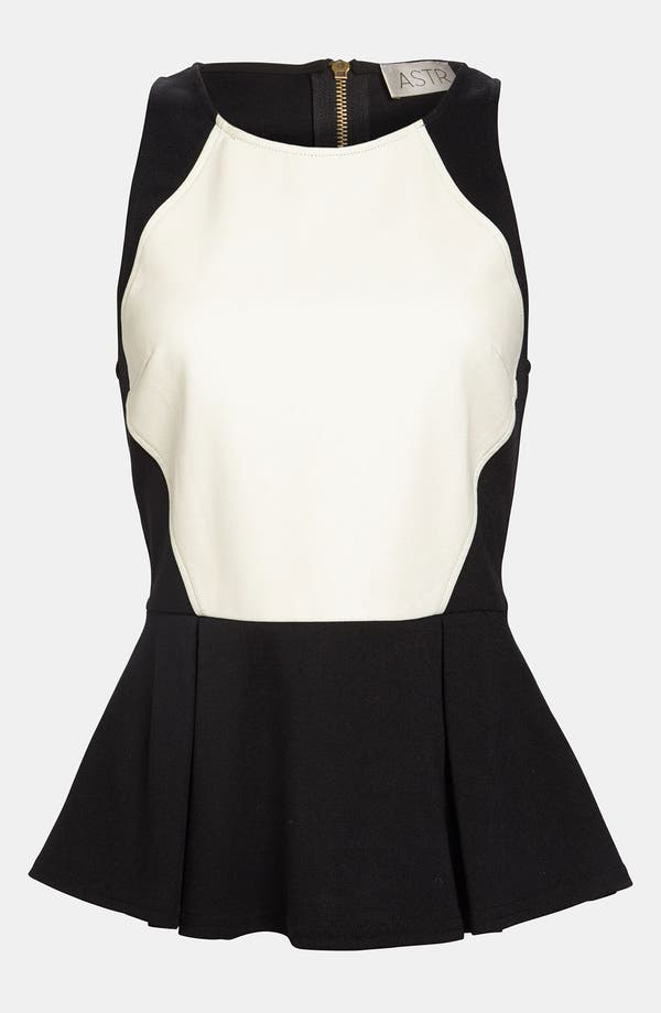 Alternate Image 1 Selected - ASTR Faux Leather Front Peplum Tank