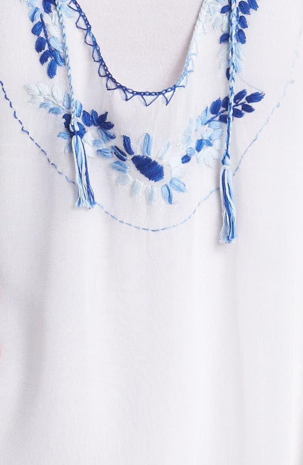 Embroidered Blouson Sleeve Top,                             Alternate thumbnail 3, color,                             White