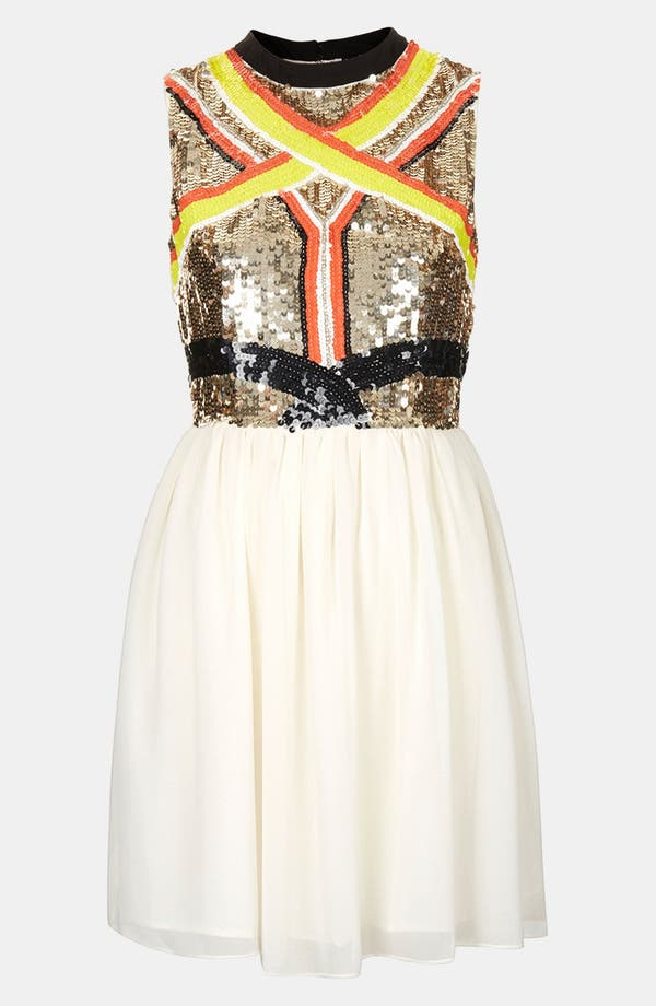 Alternate Image 1 Selected - Topshop Sequin Panel Skater Dress