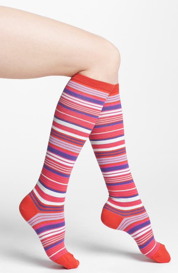 Alternate Image 1 Selected - kate spade new york microstripe knee socks