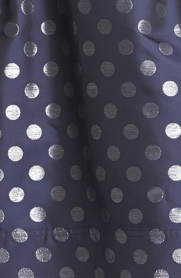 Embellished Strapless Metallic Satin Dress,                             Alternate thumbnail 3, color,                             Navy