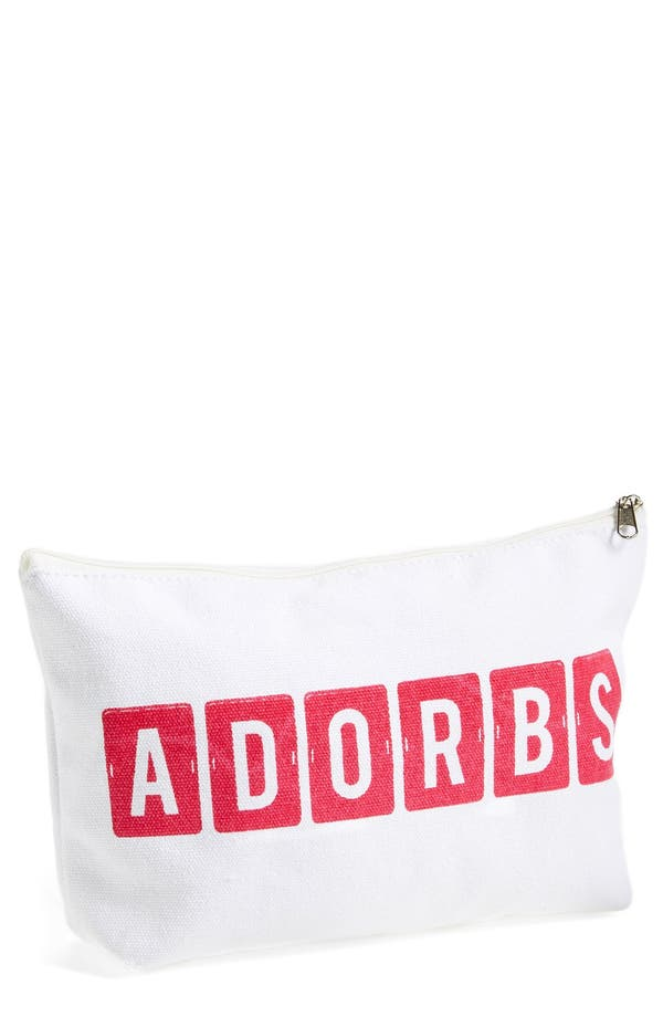 'Adorbs' Zip Top Accessory Bag,                             Main thumbnail 1, color,                             White