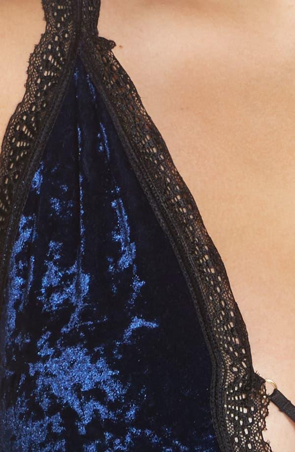 Alternate Image 5  - Oh La La Cheri Amalie Crushed Velvet Bodysuit (Plus Size)