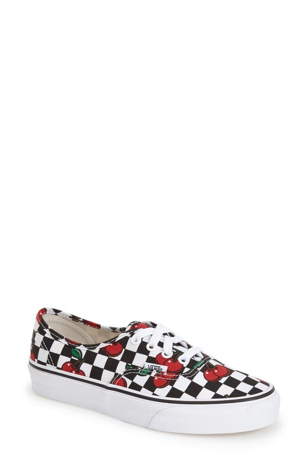 vans cherry checkerboard slip on
