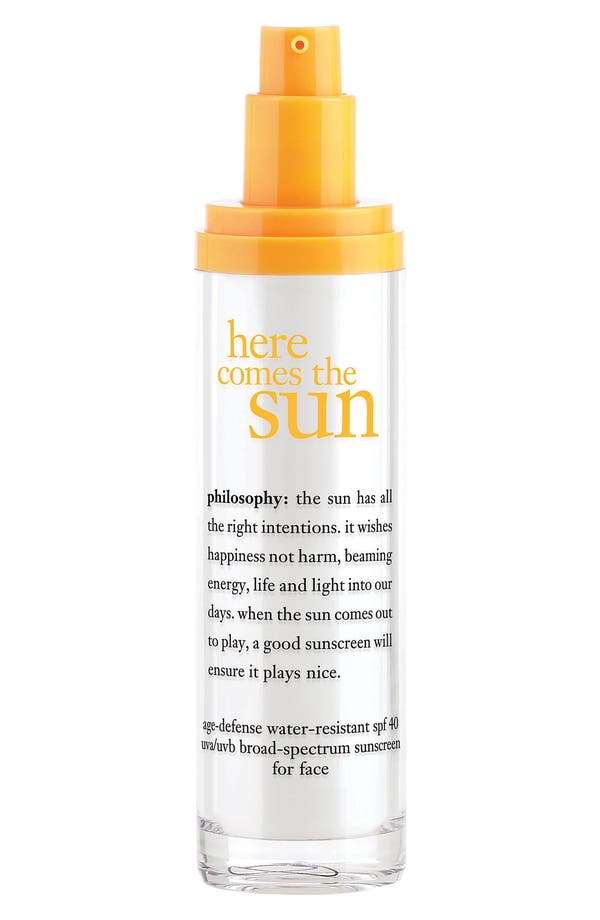 Alternate Image 1 Selected - philosophy 'here comes the sun' age defense facial sunscreen spf 40