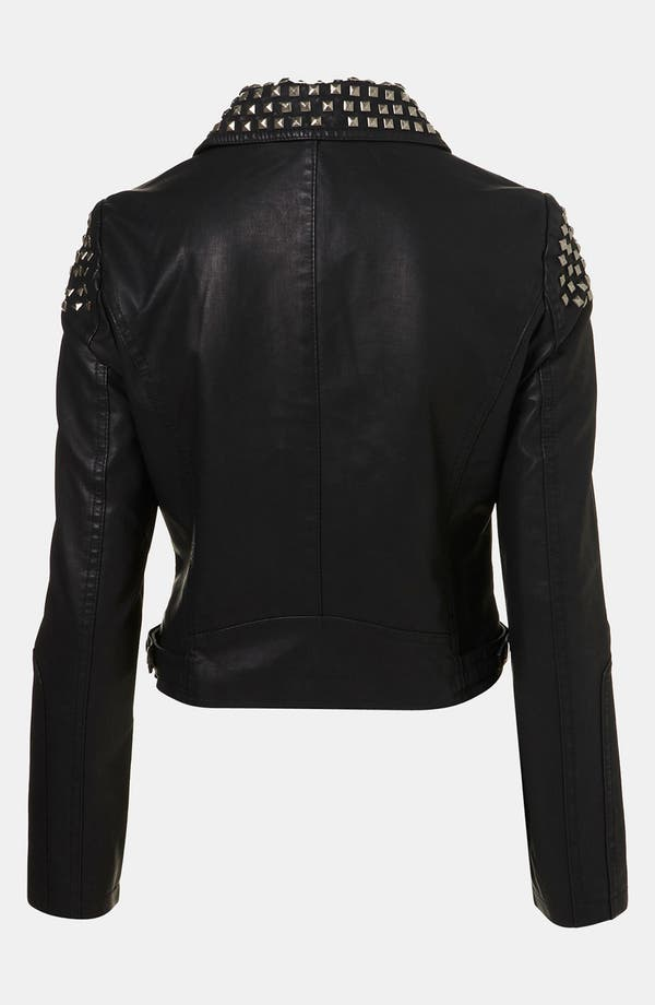Alternate Image 2  - Topshop Studded Faux Leather Biker Jacket