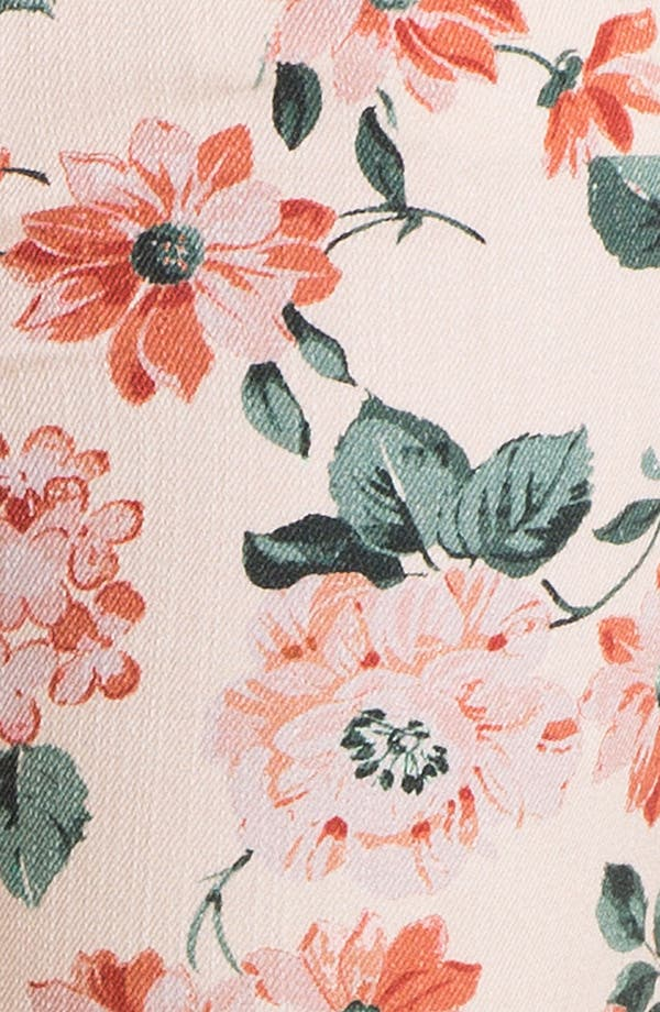 Alternate Image 3  - Fire Floral Print Skinny Jeans (Juniors)
