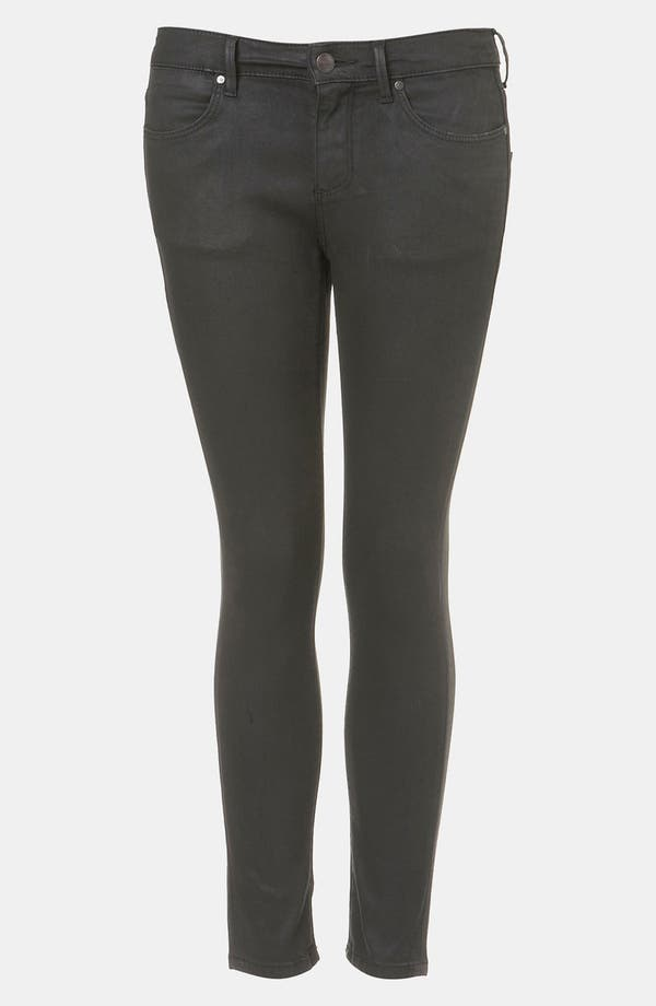 Main Image - Topshop Moto 'Leigh' Coated Skinny Jeans (Black) (Petite)