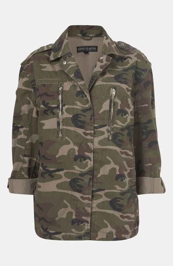 Main Image - Topshop Camo Jacket (Petite)