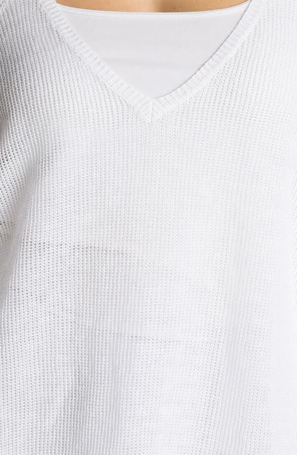 Alternate Image 3  - Eileen Fisher Sheer V-Neck Linen Sweater (Plus)