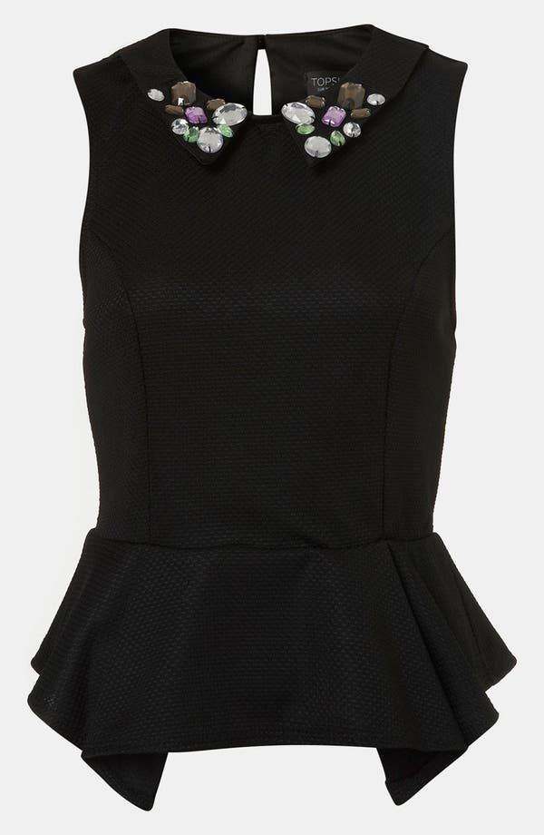 Alternate Image 1 Selected - Topshop Embellished Collar Peplum Top