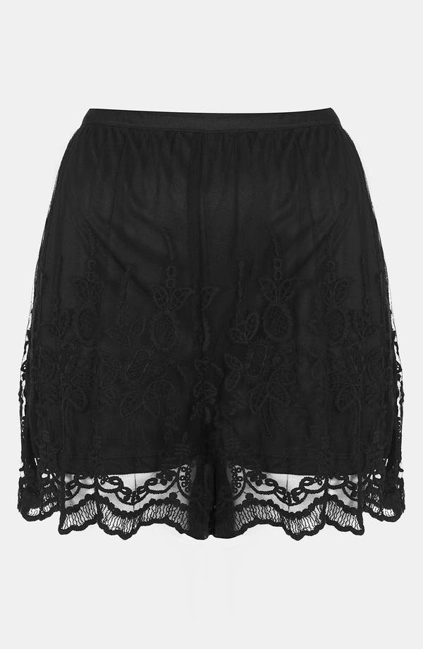 Main Image - Topshop Embroidered Lace Shorts