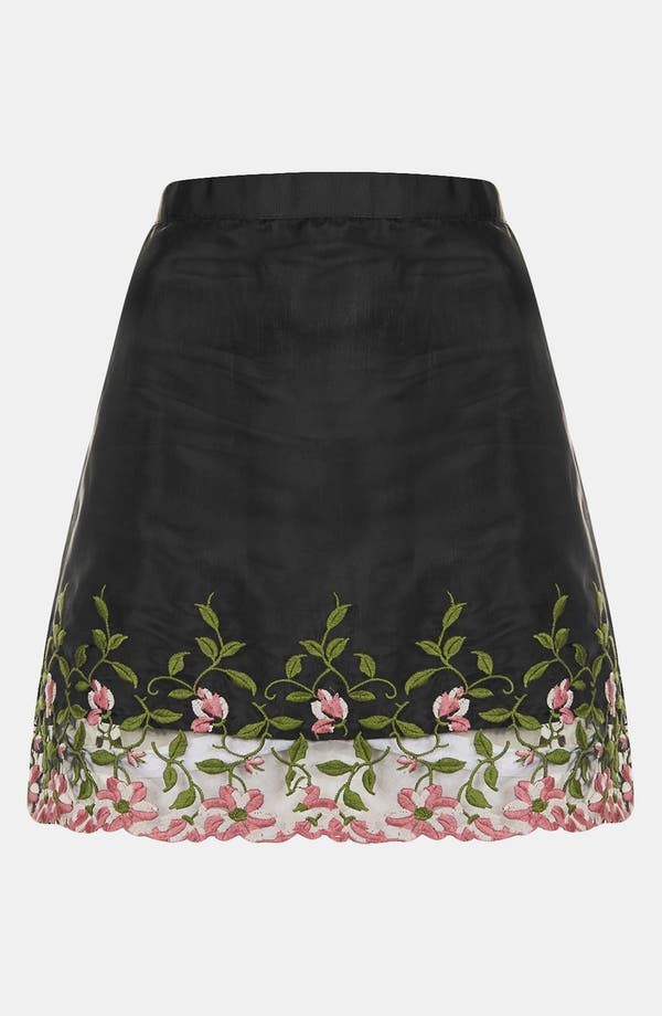 Alternate Image 3  - Topshop Embroidered Organza A-Line Miniskirt