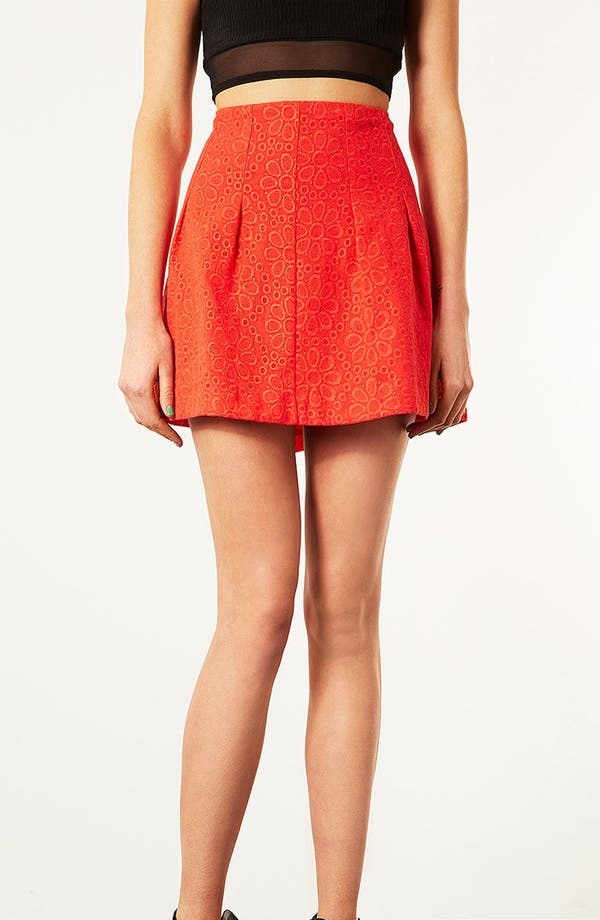Main Image - Topshop Flower Mesh Skirt