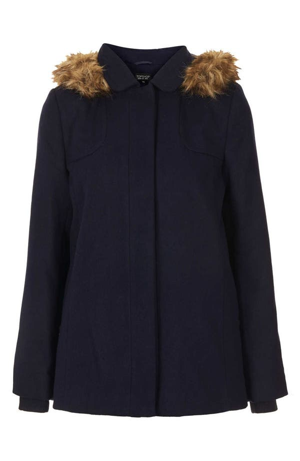 Alternate Image 3  - Topshop 'Edie' Faux Fur Trim Coat