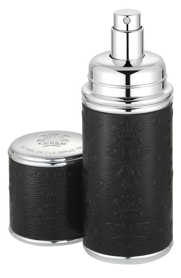 Black with Silver Trim Leather Atomizer,                             Main thumbnail 1, color,                             No Color