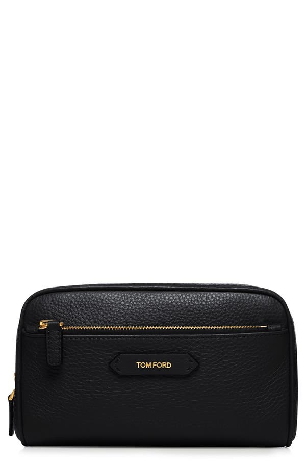 Large Leather Cosmetics Case,                             Main thumbnail 1, color,                             No Color