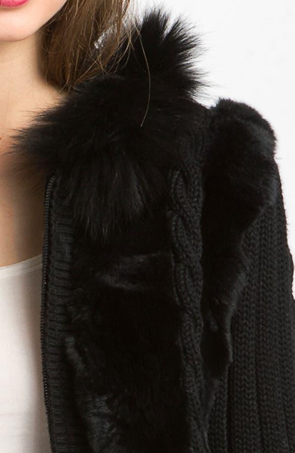Alternate Image 3  - Laundry by Shelli Segal Genuine Fur Trim Hooded Knit Jacket