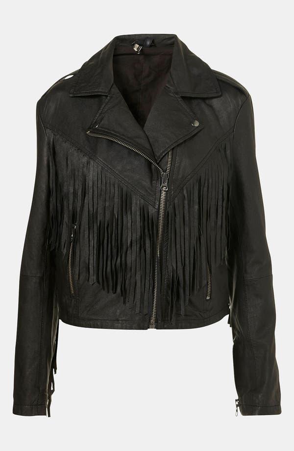 Main Image - Topshop 'Sally' Fringe Leather Biker Jacket