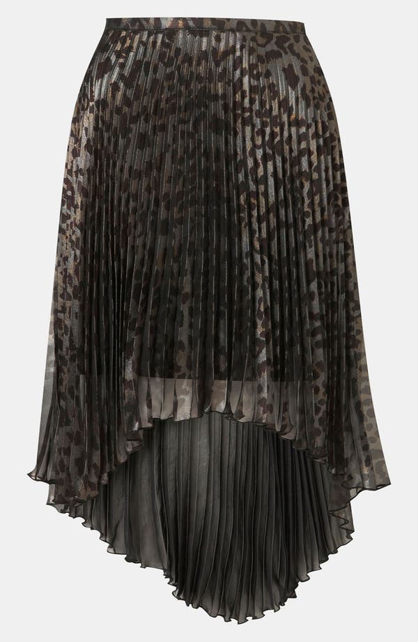 Main Image - Topshop Animal Print Pleated Skirt