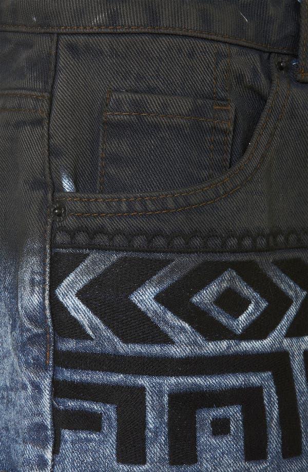 Alternate Image 3  - Topshop Moto Embroidered Dip Dye Denim Shorts