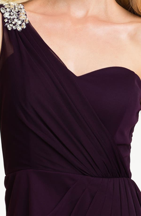 Alternate Image 3  - Xscape Pleated One Shoulder Mesh Dress (Petite)