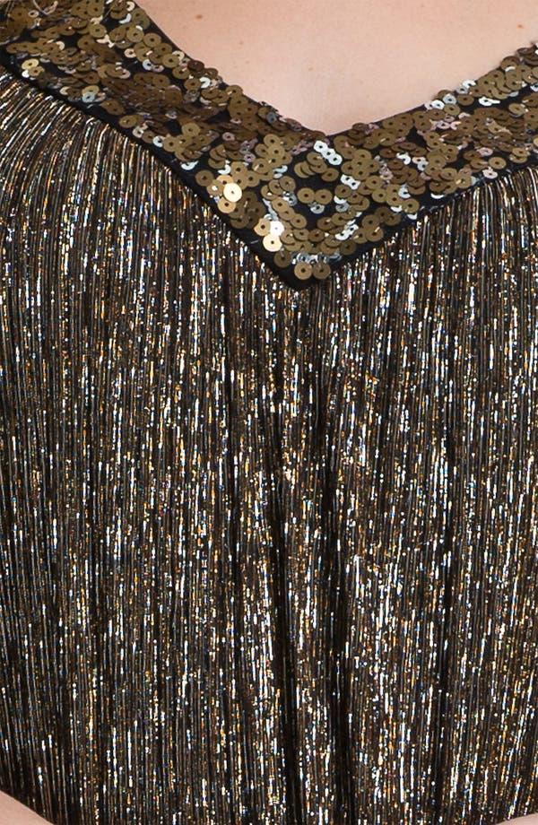 Alternate Image 3  - Donna Ricco Sequin Metallic Trapeze Dress (Plus Size)