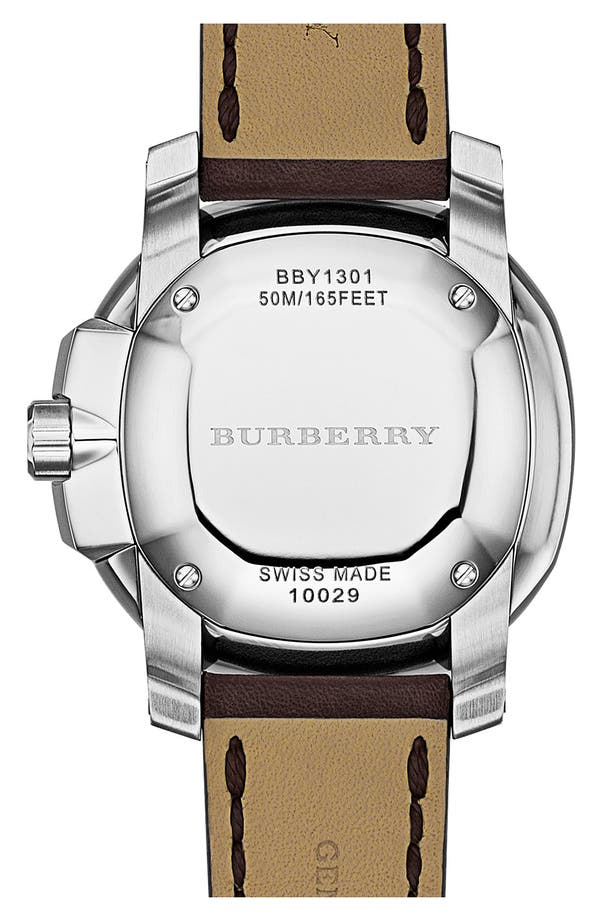 Alternate Image 4  - Burberry The Britain Leather Strap Watch