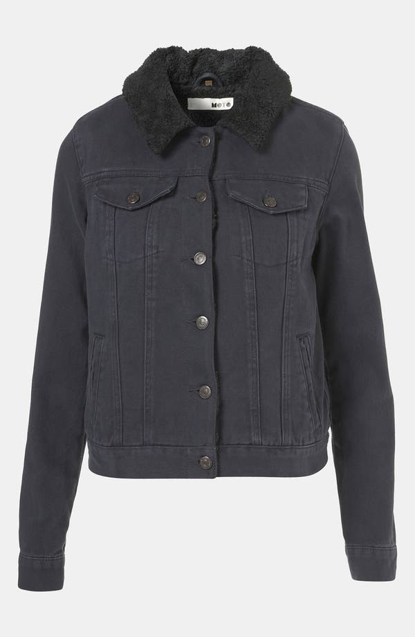 Main Image - Topshop Moto Plush Lined Denim Jacket