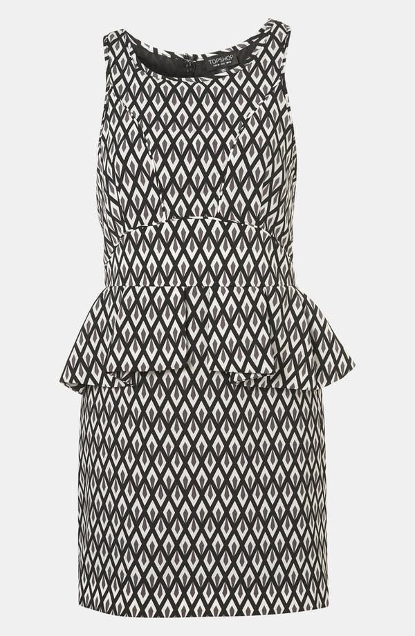 Geo Print Peplum Dress,                         Main,                         color, Black/ Grey