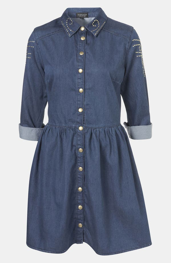 Alternate Image 1 Selected - Topshop Studded Denim Shirtdress