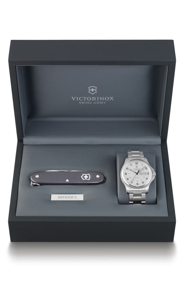 Alternate Image 1 Selected - Victorinox Swiss Army® 'Officer's' Automatic Bracelet Watch with Knife, 40mm