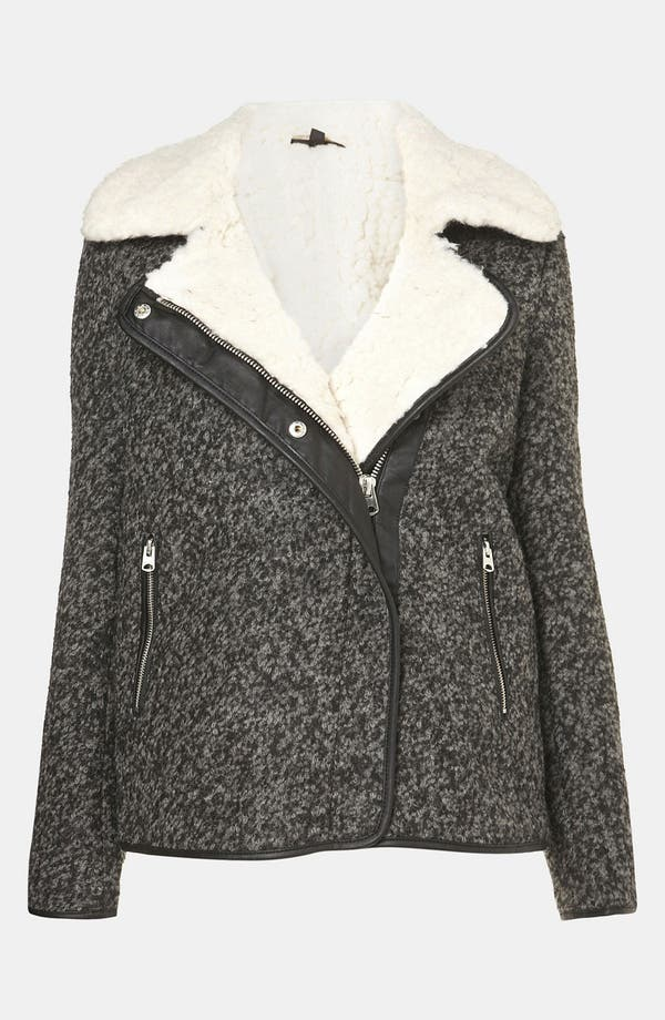 Main Image - Topshop Textured Wool Biker Jacket