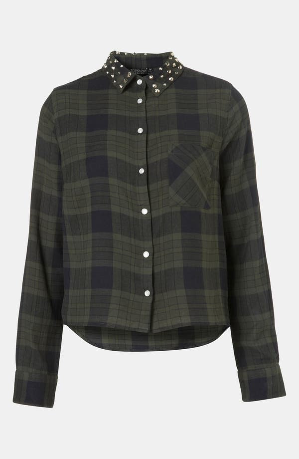 Alternate Image 1 Selected - Topshop Stud Collar Plaid Shirt