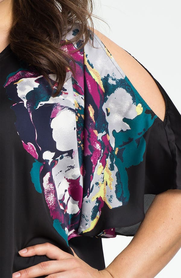 Alternate Image 3  - Kenneth Cole New York Placed Peony Cold Shoulder Top (Plus)