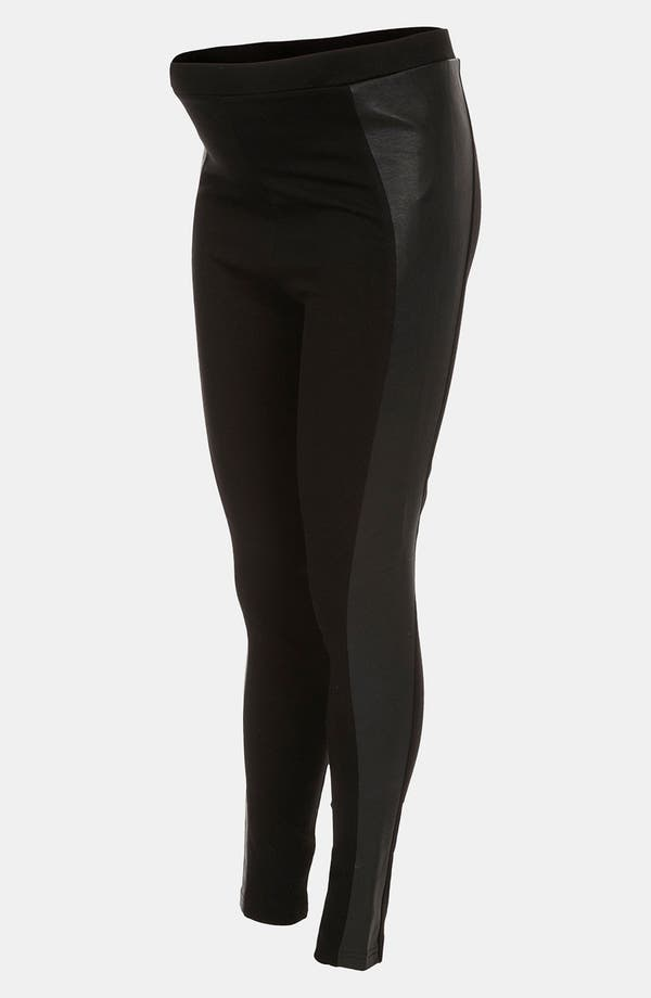 Main Image - Topshop Faux Leather Paneled Maternity Leggings