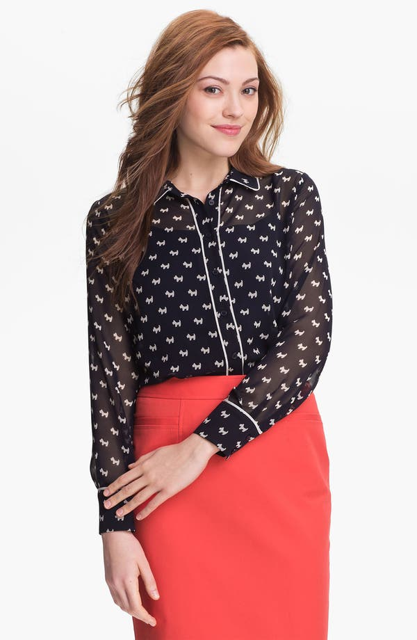 Alternate Image 1 Selected - Pleione Piped Print Blouse