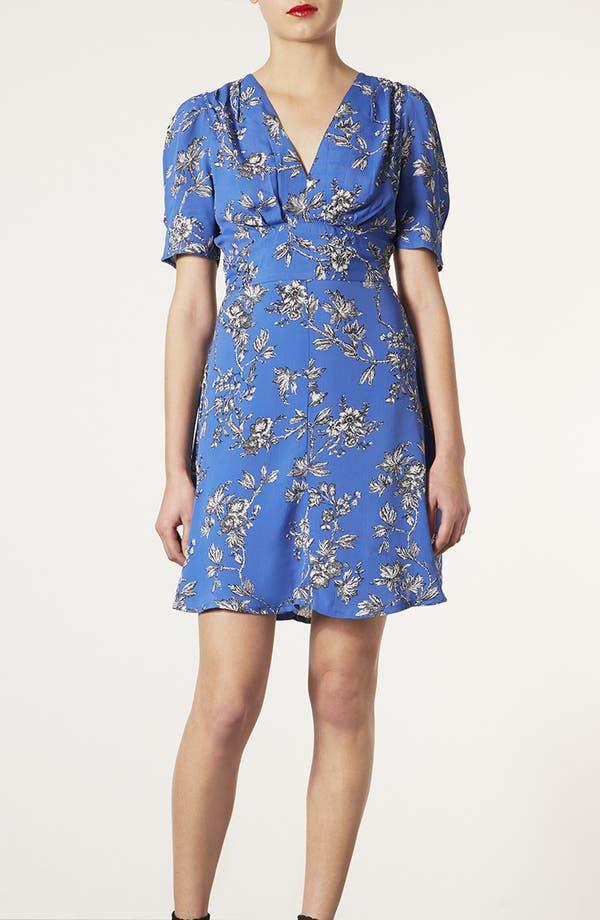 Floral Branch Tea Dress,                         Main,                         color, Blue